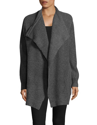 Jones New York Chunky Open Front Cardigan-GREY-Large