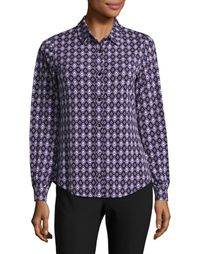 Jones New York New Foulard Print Button-Down Shirt-PURPLE-Large