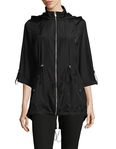 Jones New York Mesh Trim Hooded Anorak-BLACK-Large
