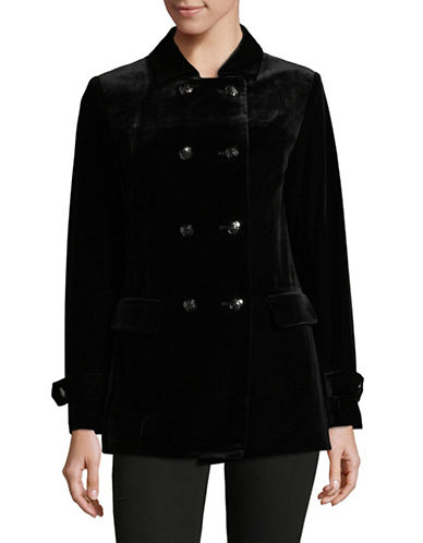 Jones New York Velvet Double Breasted Peacoat-BLACK-6