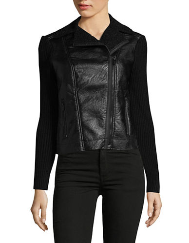 Jones New York Asymmetric Zip Motorcycle Jacket-BLACK-Large