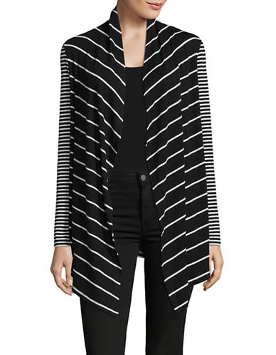 Jones New York Long Sleeve Open Front Cardigan-BLACK/WHITE-X-Large