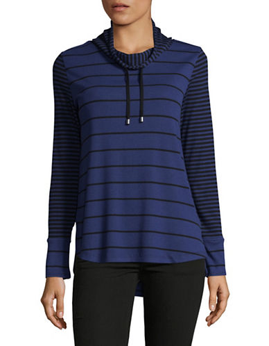 Jones New York Striped Drawstring Shirt-FRENCH BLUE BLACK-Large
