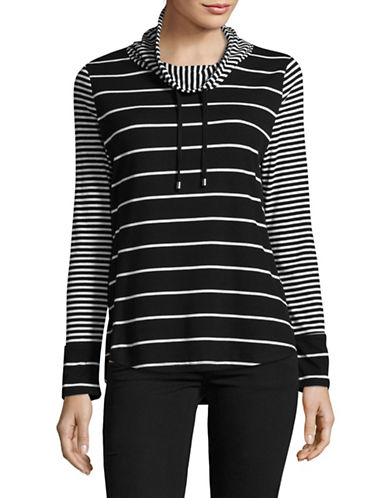 Jones New York Striped Drawstring Shirt-BLACK WHITE-Large