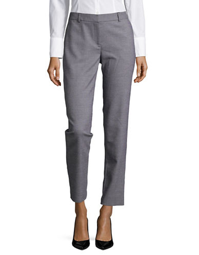 Jones New York Pincheck Mid-Rise Pants-GREY-10