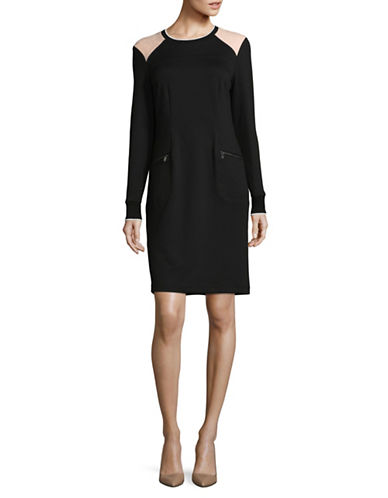 Jones New York Long Sleeve Zip Sheath Dress-BLACK-12