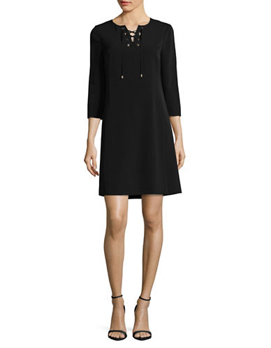 Jones New York Lace-Up A-Line Dress-BLACK-8