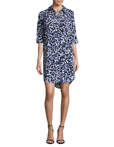 Jones New York Animal Print Lace-Up Shirt Dress-DUSK COMBO-12