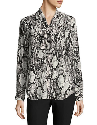Jones New York Printed Drop Shoulder Blouse-GREY-Small