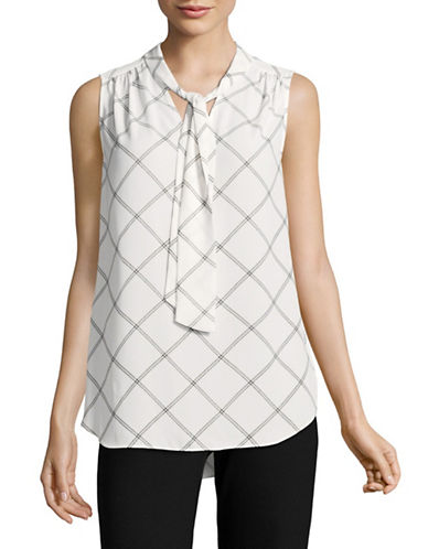 Jones New York Check Tie-Neck Blouse-IVORY COMBO-Small