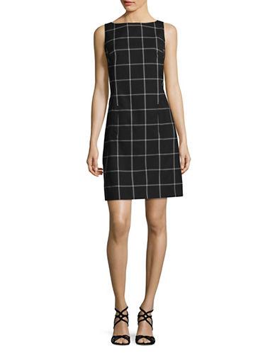 Jones New York Big Windowpane Sheath Dress-BLACK/WHITE-Large