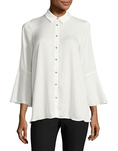Jones New York Flounce Bell Sleeve Top-IVORY-Large