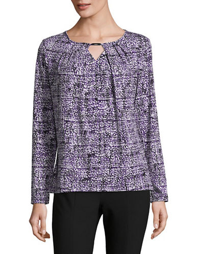 Jones New York Pleated Blouse-PURPLE-Large