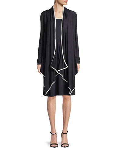 Jones New York Long-Sleeve Draped Cardigan-NAVY-Small