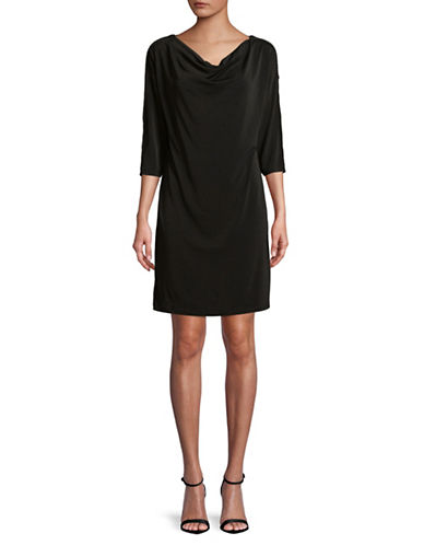Jones New York Leather-Trimmed Dolman-Sleeve Dress-BLACK-Medium
