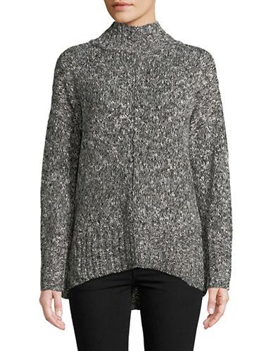 Jones New York Marled Mock Neck Pullover-BLACK-Small