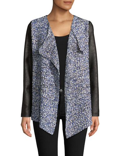 Jones New York Draped Open Front Cardigan-GREY-Medium