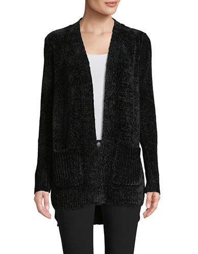 Jones New York Pocketed Open Front Cardigan-BLACK-X-Large
