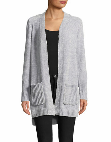 Jones New York Pocketed Open Front Cardigan-GREY-Medium