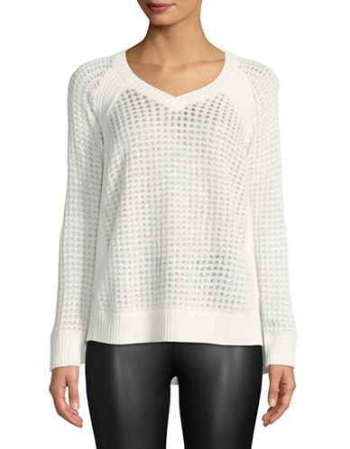 Jones New York Waffle Knit Sweater-IVORY-X-Large