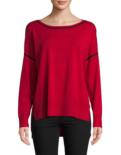 Jones New York Contrast Stitch Pullover-GARNET-Large
