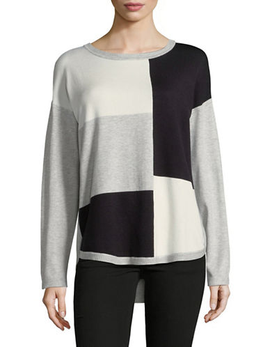 Jones New York Colourblocked Long-Sleeve Sweater-GREY-Medium