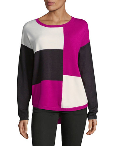 Jones New York Colourblocked Long-Sleeve Sweater-CRANBERRY-X-Large