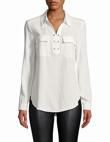 Jones New York Lace-Up Front Blouse-IVORY-Medium