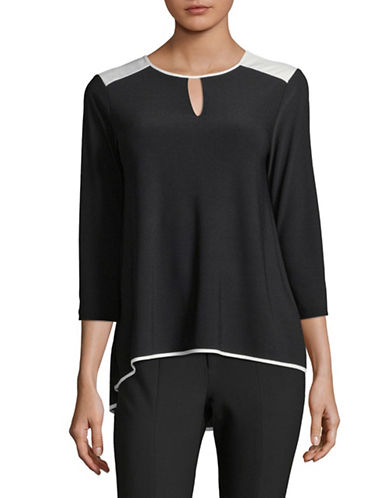 Jones New York Colourblocked Three-Quarter Sleeve Top-BLACK-X-Large