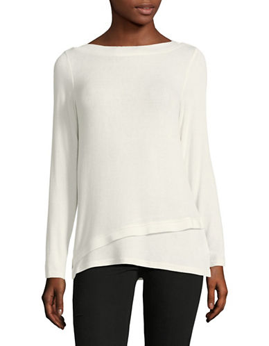 Jones New York Long-Sleeve Layered Top-IVORY-Large