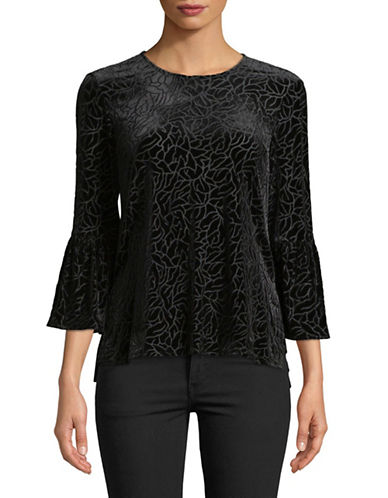 Jones New York Hi-lo Velvet Bell Sleeve Top-BLACK-Large