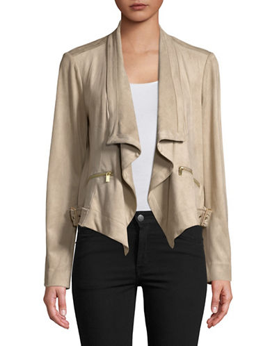 Jones New York Drape Front Jacket-KHAKI-Small