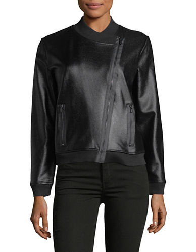Jones New York Coated Asymmetrical Front Zip Jacket-BLACK-Medium