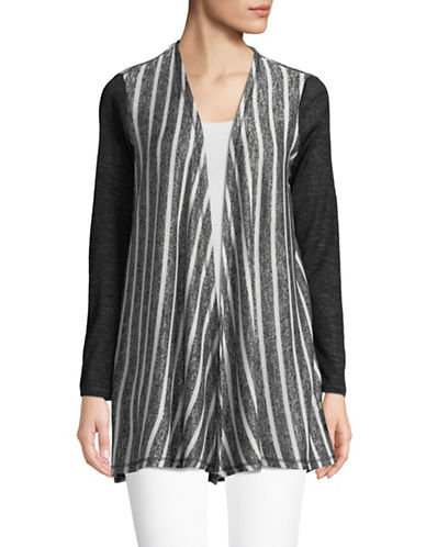 Jones New York Mix-Media Draped Cardigan-NAVY/IVORY-X-Large