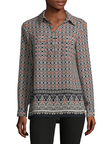 Jones New York Printed Half-Placket Blouse-MULTI-X-Large