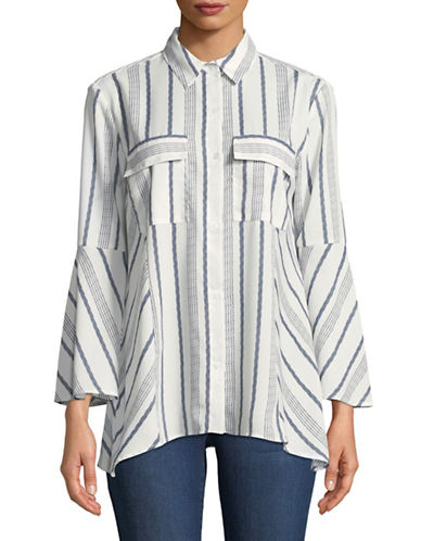 Jones New York Striped Bell Sleeve Blouse-IVORY COMBO-X-Large