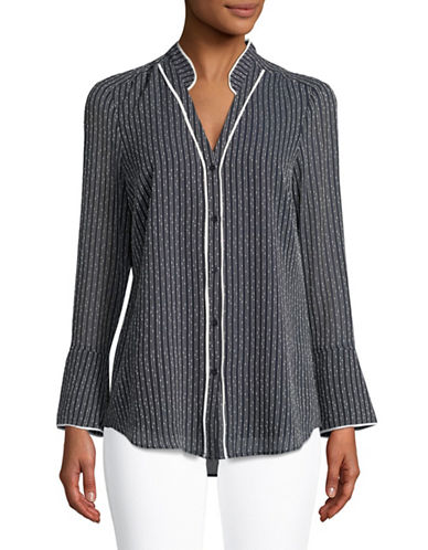 Jones New York Long-Sleeve Y-Neck Piped Blouse-NAVY-Small