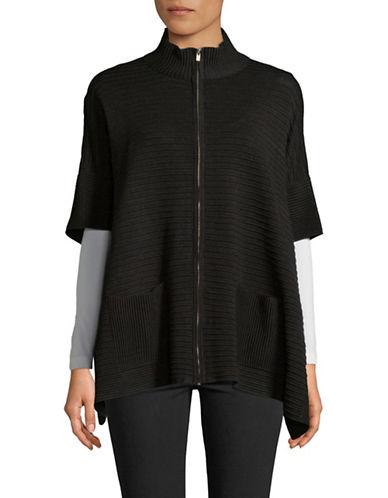 Jones New York Oversized Full-Zip Cardigan-BLACK-Small/Medium