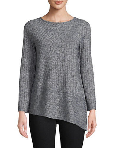 Jones New York Boat Neck Ribbed Top-GREY-X-Large
