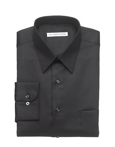 Geoffrey Beene Wrinkle Free Sateen Shirt-BLACK-17.5-32/33