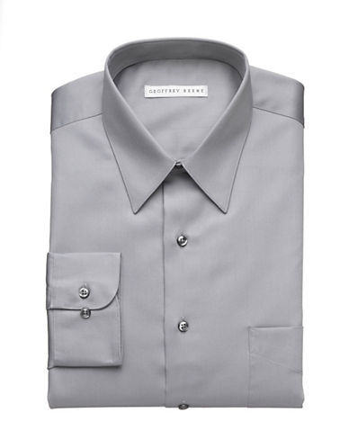 Geoffrey Beene Wrinkle Free Sateen Shirt-GREY-17.5-34/35