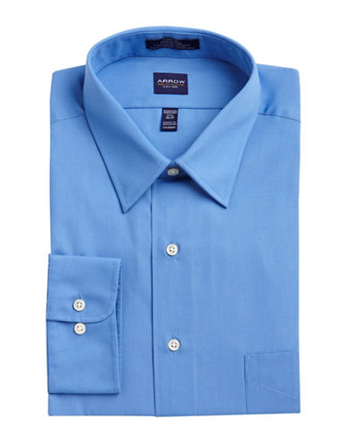 Arrow Solid Poplin Shirt-BLUE-18-36/37