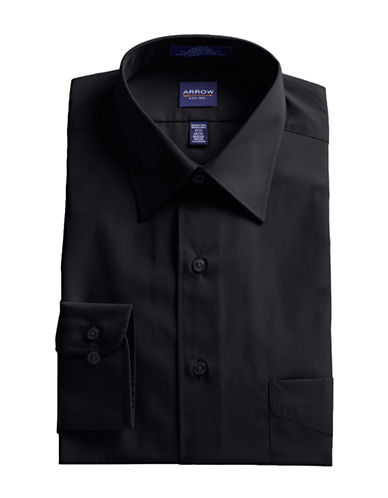 Arrow Poplin Dress Shirt-BLACK-15-32/33