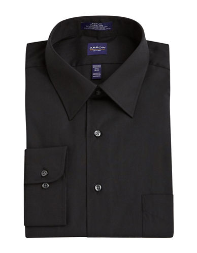 Arrow Solid Poplin Shirt-BLACK-17.5-36/37