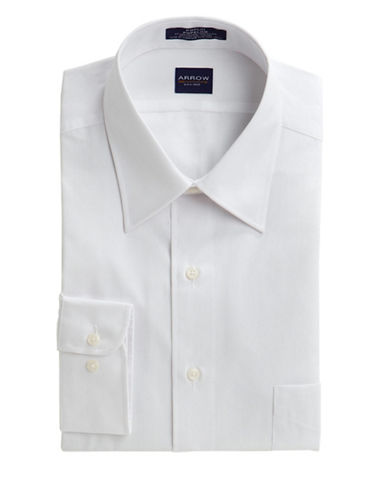 Arrow Poplin Dress Shirt-WHITE-17.5-36/37