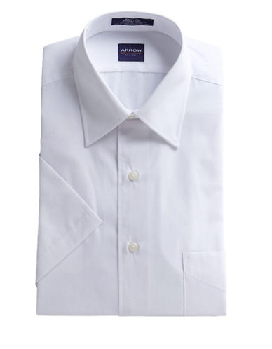 Arrow Short Sleeve Classic Fit Dress Shirt-WHITE-14.5