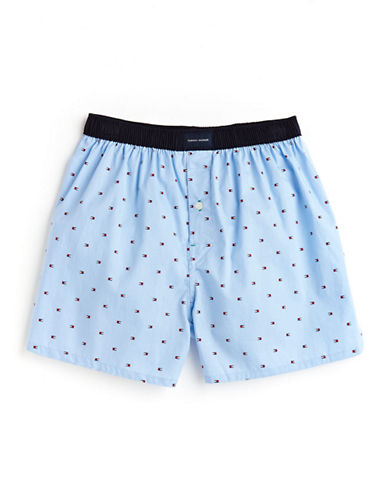 Tommy Hilfiger Woven Boxer-LIGHT/PASTEL BLUE-Small
