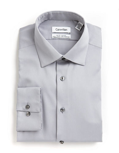 Calvin Klein Solid Cotton Shirt-GREY-16.5-34/35