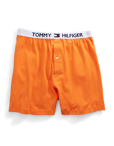 Tommy Hilfiger Solid Knit Boxers-TANGERINE-Small