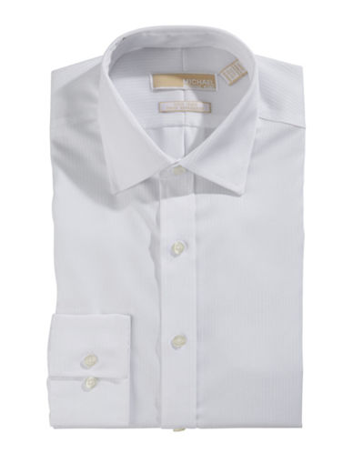 Michael Michael Kors Textured Slim Fit Button Shirt-WHITE-16-34/35